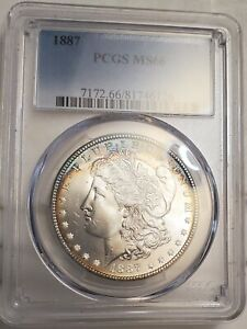 1887P MORGAN SILVER DOLLAR PCGS MS66 LOOKS LIKE A 67 SOME TONING