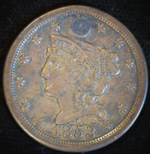 1853 BRAIDED HAIR HALF CENT LY FINE DETAILS PLUGGED FREE SHIP C4718