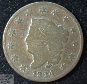 1824 CORONET HEAD LARGE CENT EARLY COPPER GOOD DETAILS POLISHED N 2 C5465