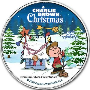 2020 USA PEANUTS 55 YEARS OF A CHARLIE BROWN CHRISTMAS   SILVER COLORIZED COIN