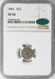 1861 THREE CENT SILVER TRIME NGC XF 45 CAC APPROVED. 180 DEGREE DIE ROTATION