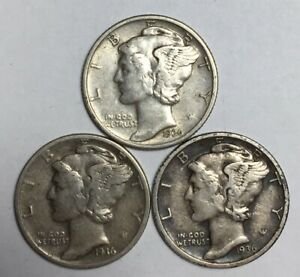 1936 1936 D AND 1936 S 10C MERCURY DIMES 90  SILVER