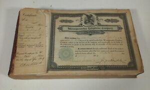 Click now to see the BUY IT NOW Price! ANTIQUE WINNEPESAUKEE TELEPHONE CO STOCK CERTIFICATE BOOK NEW HAMPSHIRE