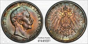 1910 A PRUSSIA 3 MARK DENOMINATION PCGS CERTIFICATION UNC GERMANY