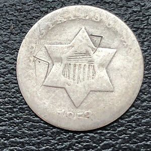 1853 THREE CENT PIECE SILVER TRIME 3C CIRCULATED 32886