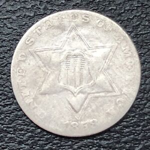 1858 THREE CENT PIECE SILVER TRIME 3C CIRCULATED 32890