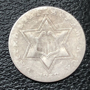 1858 THREE CENT PIECE SILVER TRIME 3C CIRCULATED 32891