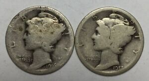 1916 S AND 1917 S 10C MERCURY DIMES 90  SILVER