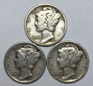 1928 1928 D AND 1928 S 10C MERCURY DIMES 90  SILVER