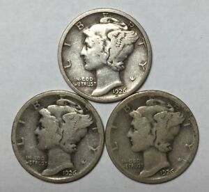 1926 1926 D AND 1926 S 10C MERCURY DIMES 90  SILVER
