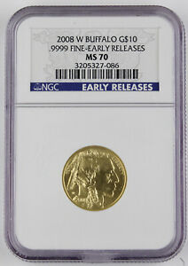 2008 W $10 AMERICAN BUFFALO BURNISHED 1/4 OZ GOLD COIN NGC MS70 EARLY RELEASES