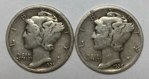 1925 AND 1926 10C MERCURY DIMES 90  SILVER
