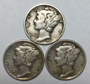 1936 1936 D AND 1936 S 10C MERCURY DIME 90  SILVER