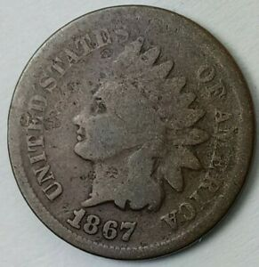 1867 INDIAN HEAD CENT IN GOOD CONDITION MUCH BETTER DATE   PROBLEM FREE