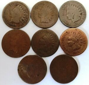 INDIAN HEAD CENT KEY DATE 8 COIN LOT 1864 BR 1865 1873 1874 1875 1876 1878 1879
