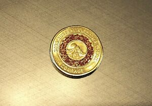 1 X 2020   TOKYO OLYMPICS   AUSTRALIA $2 COIN   COURAGE   RED   SHINY UNC