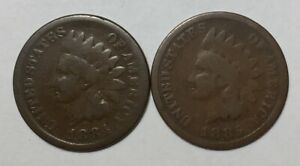1884 AND 1885 1C INDIAN HEAD CENTS