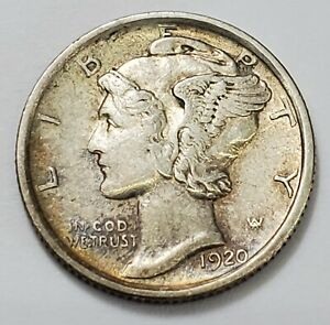 CHOICE ABOUT UNCIRCULATED 1920 S MERCURY DIME