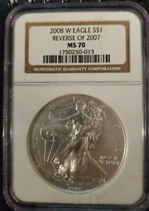 2008 W SILVER EAGLE REVERSE OF 2007 NGC MS70 BURNISHED ONLY ERROR IN SERIES 013