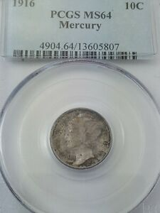 1916 P MERCURY DIME GRADED MS 64 BY PCGS   FIRST YEAR ISSUE   TONED
