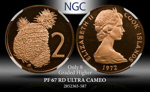 1972 COOK ISLANDS 2 CENTS NGC PF 69 RD ULTRA CAMEO FINEST KNOWN