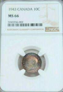Click now to see the BUY IT NOW Price! 1943 CANADA SILVER 10 CENTS GEORGE VI NGC MS MS 66  COLOR TONED TOP POP