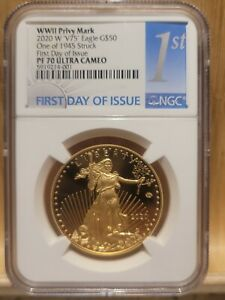 Click now to see the BUY IT NOW Price! 2020 END WORLD WAR II AMERICAN EAGLE GOLD NGC PF70UC PR70 V75 FIRST DAY FDI BLUE