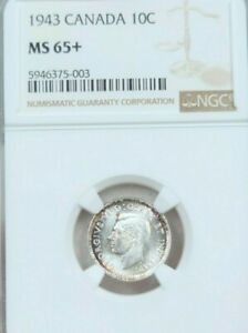 Click now to see the BUY IT NOW Price! 1943 CANADA SILVER 10 CENTS GEORGE VI NGC MS MS 65   GEM BU STELLAR LUSTER