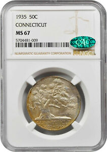 1935 CONNECTICUT COMMEMORATIVE HALF MS 67 NGC/CAC CERTIFIED   COLOR