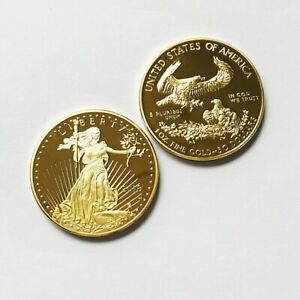 AMERICAN EAGLE 2018 1OZ GOLD PLATED 50 DOLLARS US COIN CHRISTMAS XMAS GIFTS