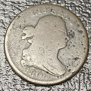 1808 DRAPED BUST HALF CENT 1/2 CENT CIRCULATED 180 ROTATED DIES 34632