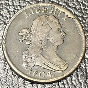 1804 DRAPED BUST HALF CENT 1/2 CENT HIGHER GRADE VF WITH CUD 34622
