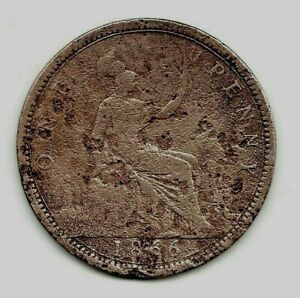 1866 VICTORIAN  PENNY. DISTRESSED SURFACE.