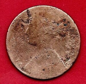 1860 VICTORIAN PENNY. POOR BUT CLEAR DATE.