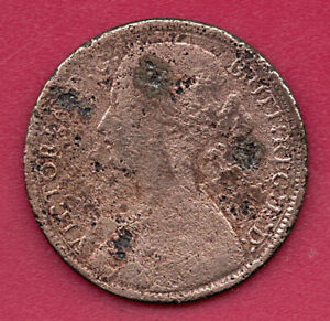 1861 VICTORIAN PENNY. CORRODED WITH CLEAR DATE.