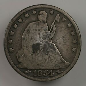RAW 1854 O SEATED LIBERTY 50C UNCERTIFIED UNGRADED NEW ORLEANS MINT SILVER COIN