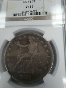 1877 S VF35 SILVER TRADE DOLLAR  KEY DATE NGC BROWN LABEL