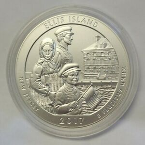 2017 ELLIS ISLAND NEW JERSEY  AMERICA THE BEAUTIFUL SILVER ROUND 5 OZT