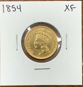 1854 $3 PRINCESS HEAD GOLD INDIAN LY FINE XF