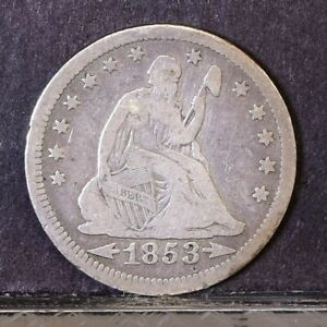 1853 LIBERTY SEATED QUARTER   ARROWS & RAYS   VG  39699