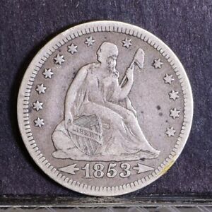 1853 LIBERTY SEATED QUARTER   ARROWS & RAYS   VF  39644