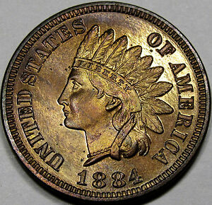 1884 PROOF INDIAN CENT GEM PROOF RB  100  ORIGINAL WITH GREAT EYE APPEAL NICE