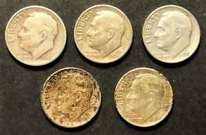 LOT OF 5 ROOSEVELT DIMES 1949 S 1950 1952 1954 S 1960