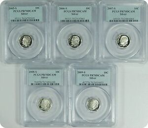 Click now to see the BUY IT NOW Price! 2005 09 S  5 SET OF COINS  PCGS PR70DCAM SILVER
