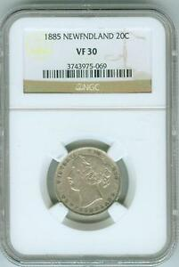 Click now to see the BUY IT NOW Price!  1885 NEWFOUNDLAND 20 CENT NGC VF30  ONLY 40 000 MINTAGE