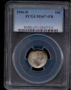 Click now to see the BUY IT NOW Price! 1946 D SILVER ROOSEVELT DIME GRADED MS67 FULL BANDS BY PCGS