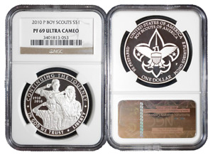 2010 P PROOF $1 SILVER BOY SCOUTS COMMEMORATIVE NGC PF69UC BROWN LABEL