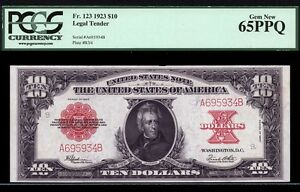 Click now to see the BUY IT NOW Price! $10  1923  LEGAL TENDER  FR. 123  PCGS 65 PPQ  ATTRACTIVE POKER CHIP NOTE