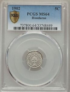 Click now to see the BUY IT NOW Price! 1902 HONDURAS 5 CENTAVOS PCGS MS 64  FINEST KNOWN EXAMPLE BY A MILE