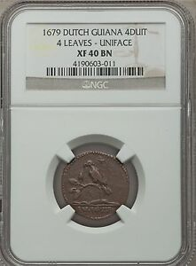 Click now to see the BUY IT NOW Price! 1679 DUTCH GUIANA SURINAME 4 DUIT NGC XF 40